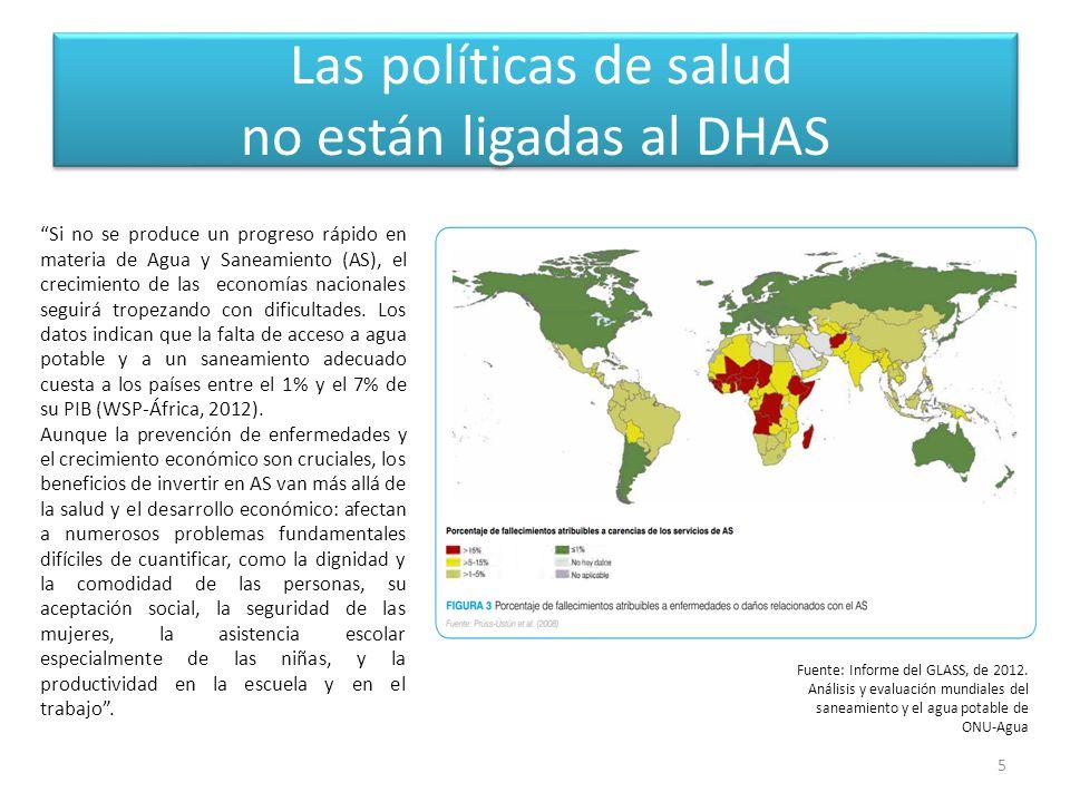 Las políticas de salud no están ligadas al DHAS 5 Si no se produce un progreso rápido en materia de Agua y Saneamiento (AS), el crecimiento de las economías nacionales seguirá tropezando con dificultades.