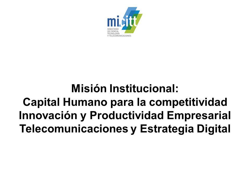 Misión Institucional: Capital Humano para la competitividad Innovación y Productividad Empresarial Telecomunicaciones y Estrategia Digital