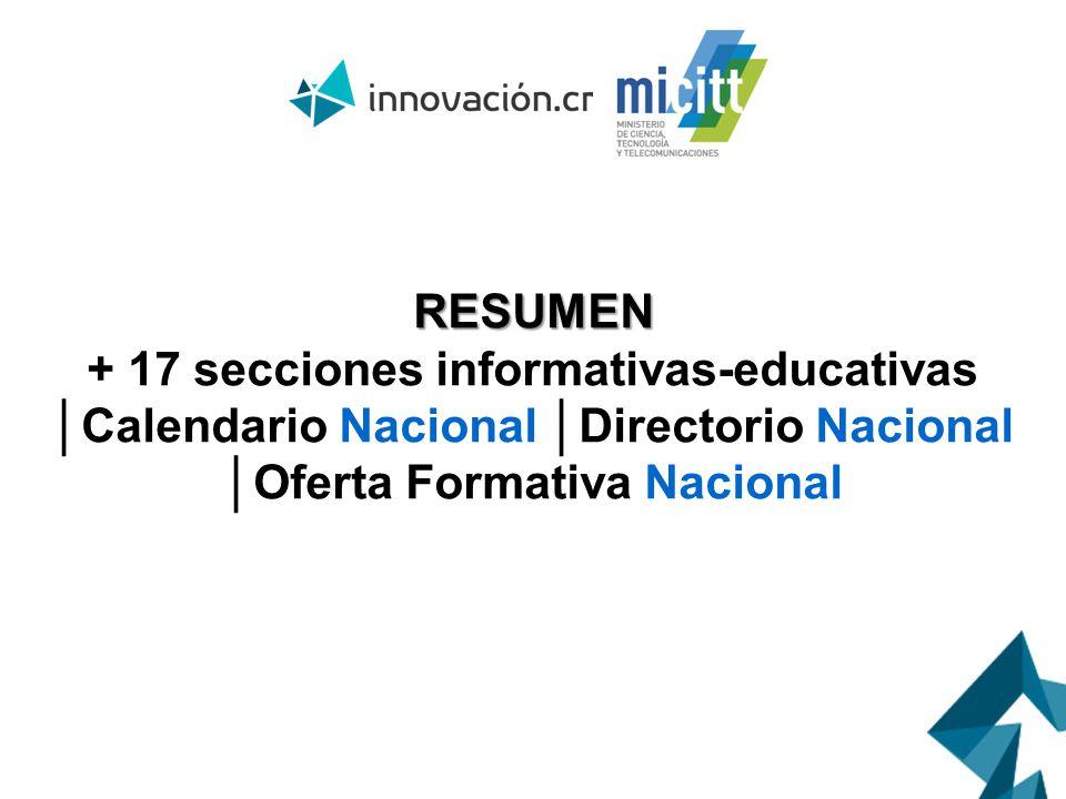 RESUMEN + 17 secciones informativas-educativas Calendario Nacional Directorio Nacional Oferta Formativa Nacional