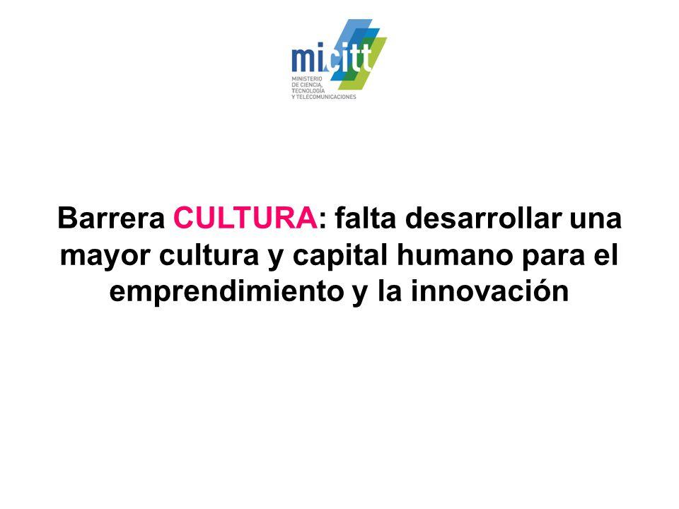 Barrera CULTURA: falta desarrollar una mayor cultura y capital humano para el emprendimiento y la innovación