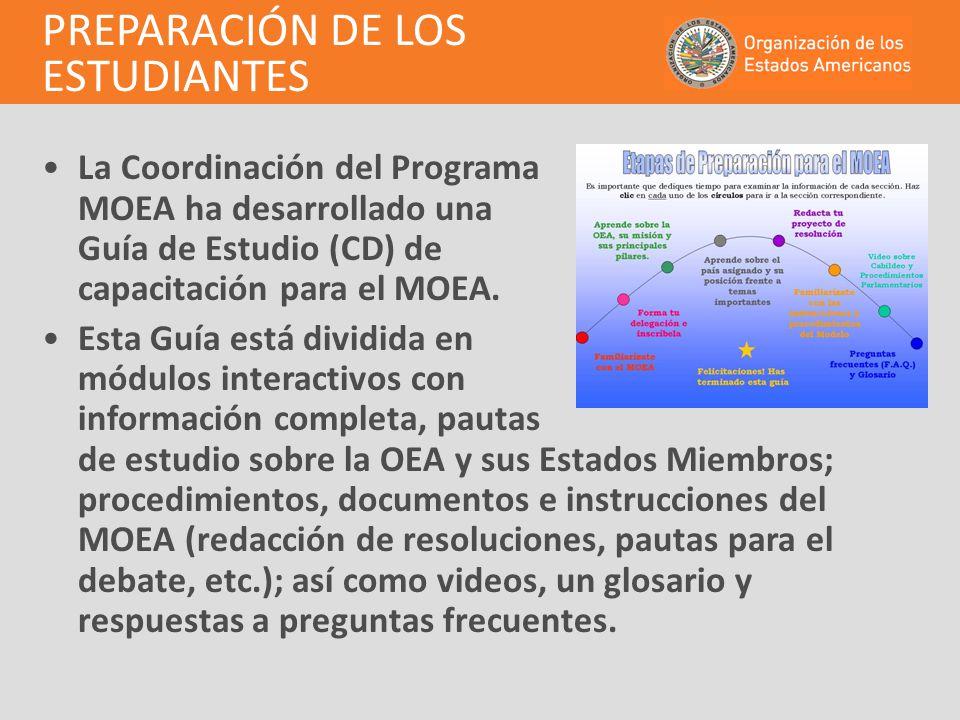 La Coordinación del Programa MOEA ha desarrollado una Guía de Estudio (CD) de capacitación para el MOEA. Esta Guía está dividida en módulos interactiv