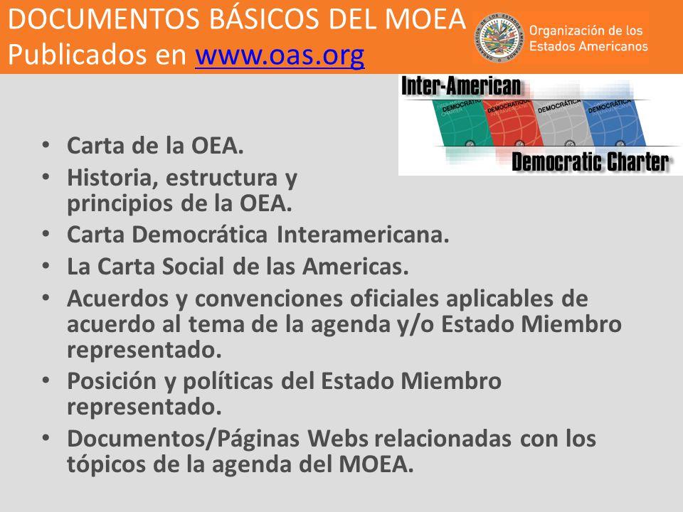 DOCUMENTOS BÁSICOS DEL MOEA Publicados en www.oas.orgwww.oas.org Carta de la OEA. Historia, estructura y principios de la OEA. Carta Democrática Inter