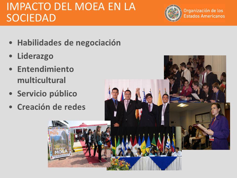 IMPACTO DEL MOEA EN LA SOCIEDAD Habilidades de negociación Liderazgo Entendimiento multicultural Servicio público Creación de redes