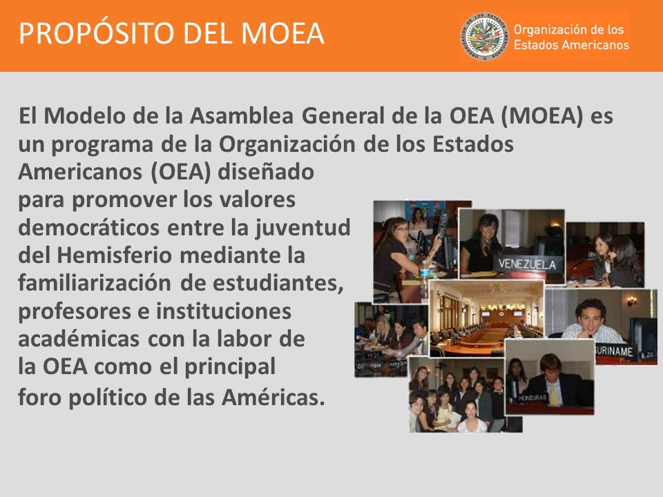 El MOEA es una simulación de los procesos de deliberación de la Asamblea General de la OEA, en el cual los estudiantes representan las políticas e intereses de los Estados Miembros de la OEA, mediante la discusión de asuntos relacionados con la democracia, los derechos humanos, la seguridad y el desarrollo en el Hemisferio.