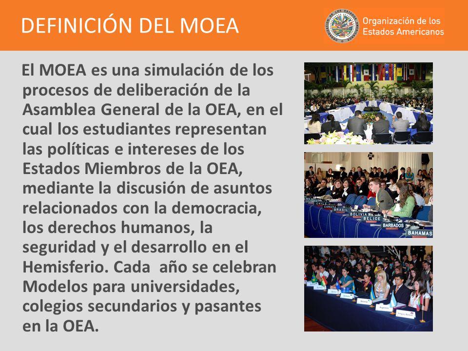 El MOEA es una simulación de los procesos de deliberación de la Asamblea General de la OEA, en el cual los estudiantes representan las políticas e int