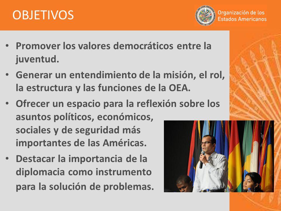 Promover los valores democráticos entre la juventud. Generar un entendimiento de la misión, el rol, la estructura y las funciones de la OEA. Ofrecer u