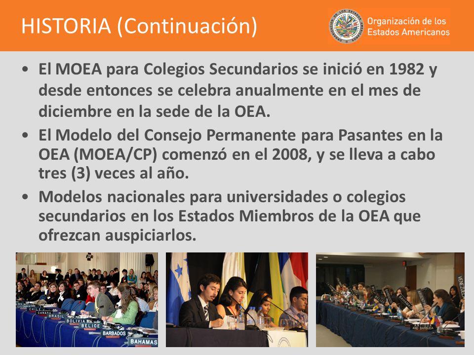 El MOEA para Colegios Secundarios se inició en 1982 y desde entonces se celebra anualmente en el mes de diciembre en la sede de la OEA. El Modelo del