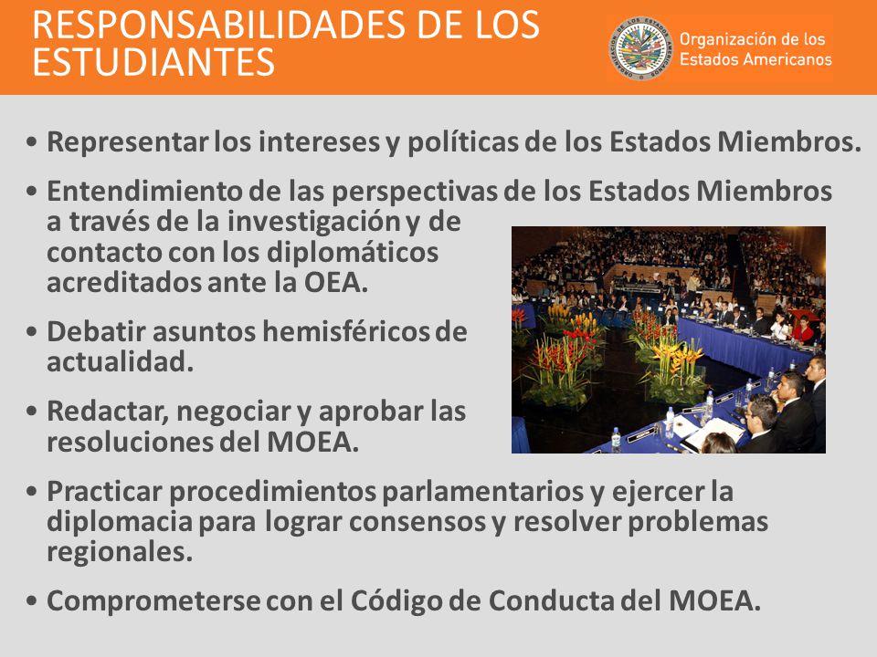 Secretaría General del MOEA Autoridades del MOEA Traducción e Interpretación (opcional) PaísesMiembros (34 delegaciones) PaísesObservadores(opcional) PARTICIPACIÓN DE LOS ESTUDIANTES EN EL MOEA Centro de Comunicaciones del MOEA