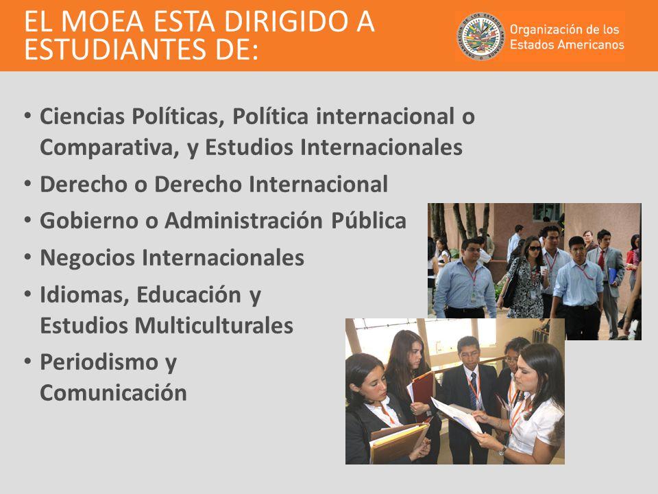 EL MOEA ESTA DIRIGIDO A ESTUDIANTES DE: Ciencias Políticas, Política internacional o Comparativa, y Estudios Internacionales Derecho o Derecho Interna