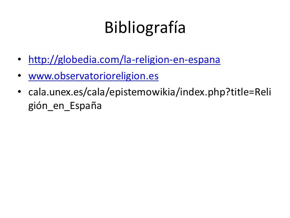 Bibliografía http://globedia.com/la-religion-en-espana www.observatorioreligion.es cala.unex.es/cala/epistemowikia/index.php?title=Reli gión_en_España
