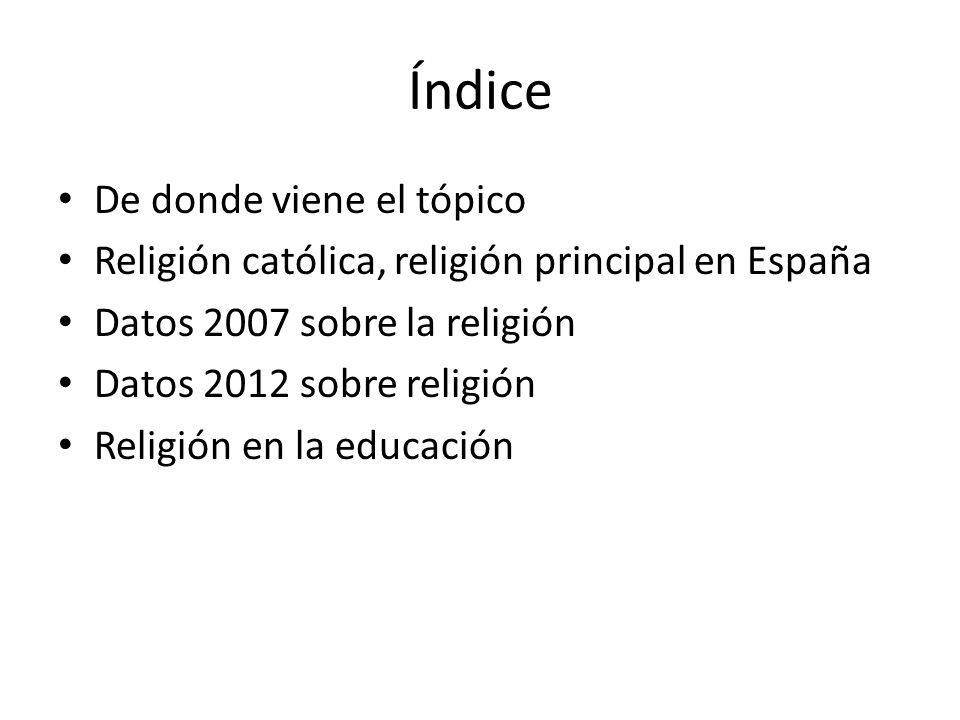 Índice De donde viene el tópico Religión católica, religión principal en España Datos 2007 sobre la religión Datos 2012 sobre religión Religión en la