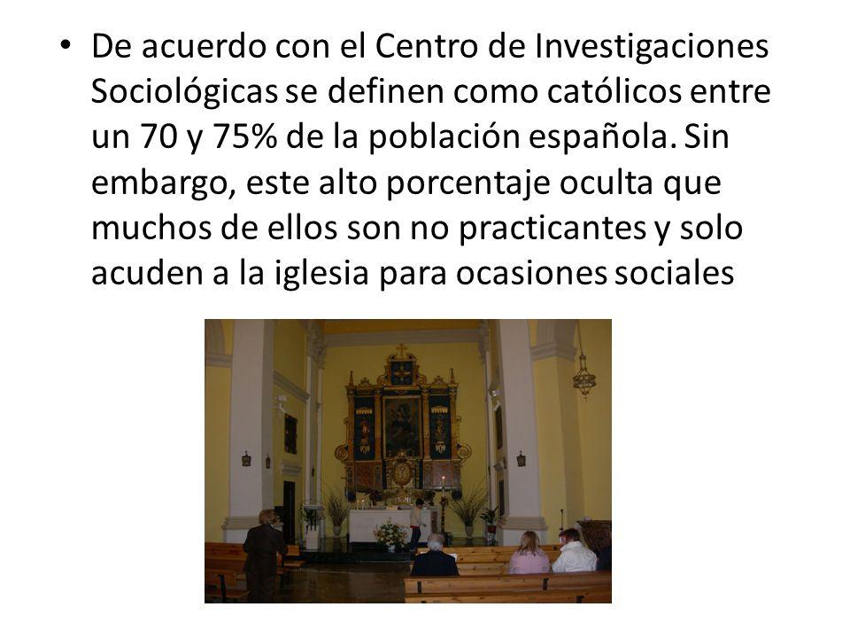 De acuerdo con el Centro de Investigaciones Sociológicas se definen como católicos entre un 70 y 75% de la población española. Sin embargo, este alto