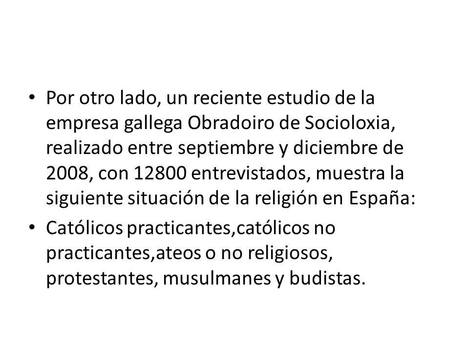 Por otro lado, un reciente estudio de la empresa gallega Obradoiro de Socioloxia, realizado entre septiembre y diciembre de 2008, con 12800 entrevista