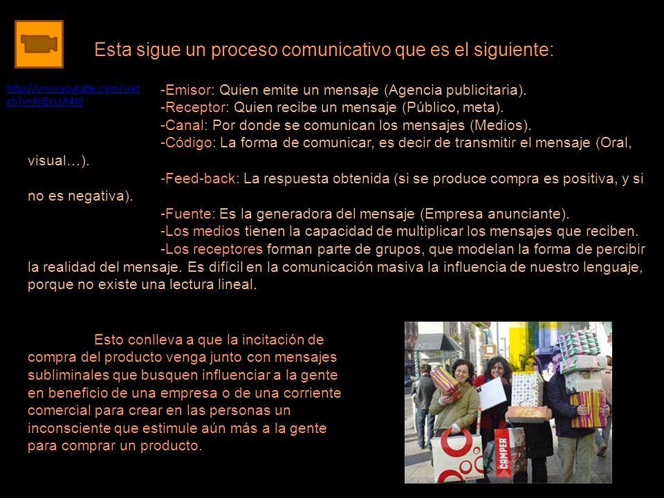 Esta sigue un proceso comunicativo que es el siguiente: -Emisor: Quien emite un mensaje (Agencia publicitaria). -Receptor: Quien recibe un mensaje (Pú