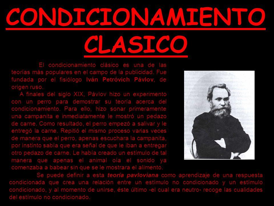 CONDICIONAMIENTO CLASICO El condicionamiento clásico es una de las teorías más populares en el campo de la publicidad. Fue fundada por el fisiólogo Iv
