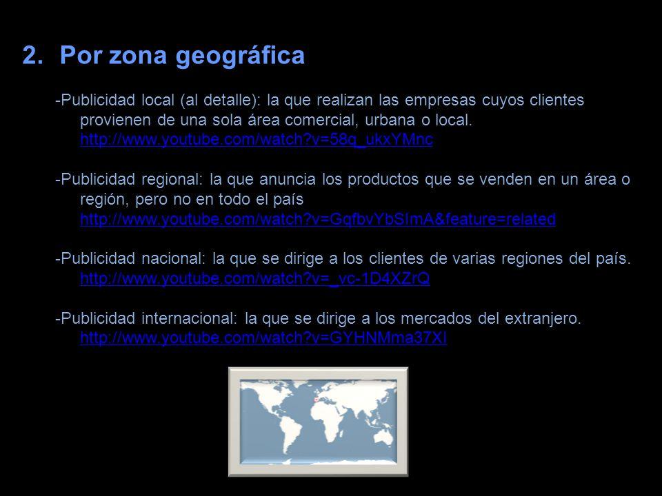 2.Por zona geográfica -Publicidad local (al detalle): la que realizan las empresas cuyos clientes provienen de una sola área comercial, urbana o local