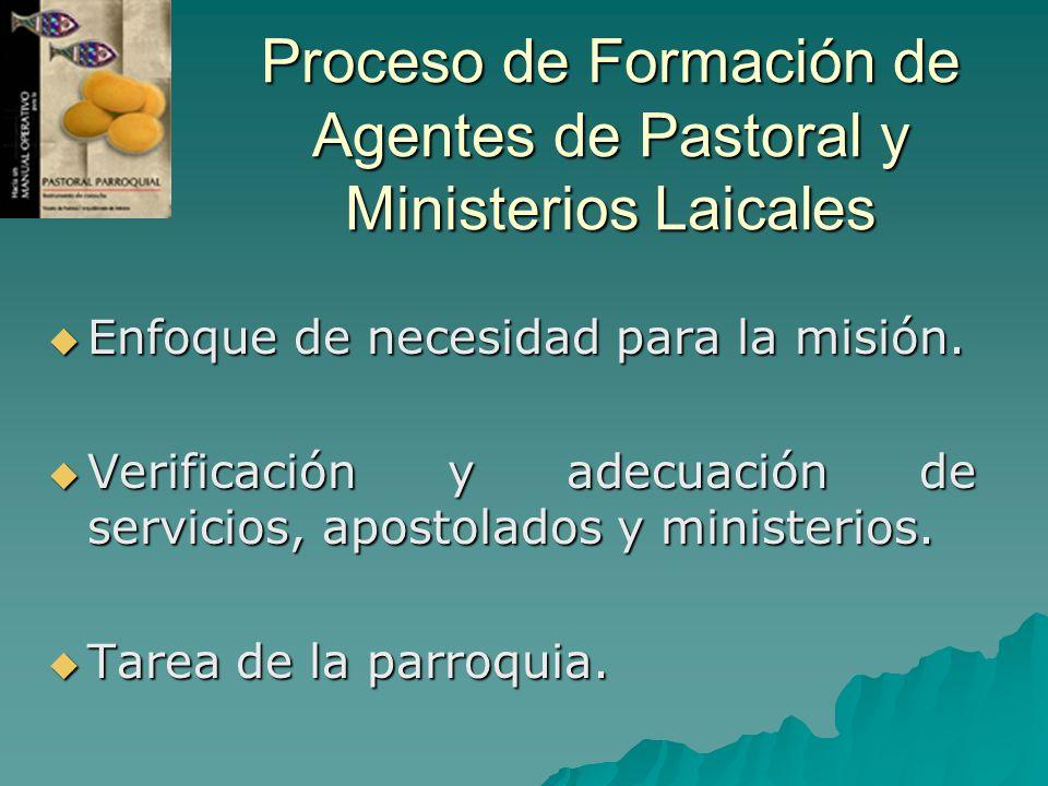 Proceso de Formación de Agentes de Pastoral y Ministerios Laicales Enfoque de necesidad para la misión. Enfoque de necesidad para la misión. Verificac