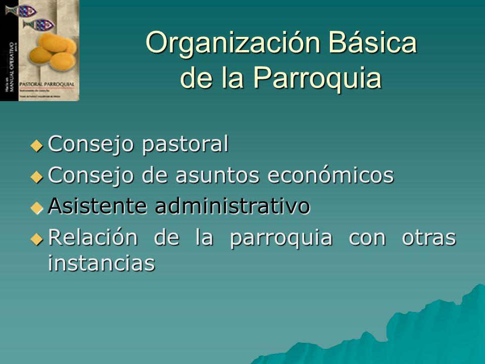 Organización Básica de la Parroquia Consejo pastoral Consejo pastoral Consejo de asuntos económicos Consejo de asuntos económicos Asistente administra
