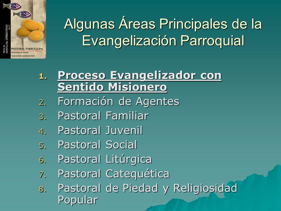 Algunas Áreas Principales de la Evangelización Parroquial 1. Proceso Evangelizador con Sentido Misionero 2. Formación de Agentes 3. Pastoral Familiar