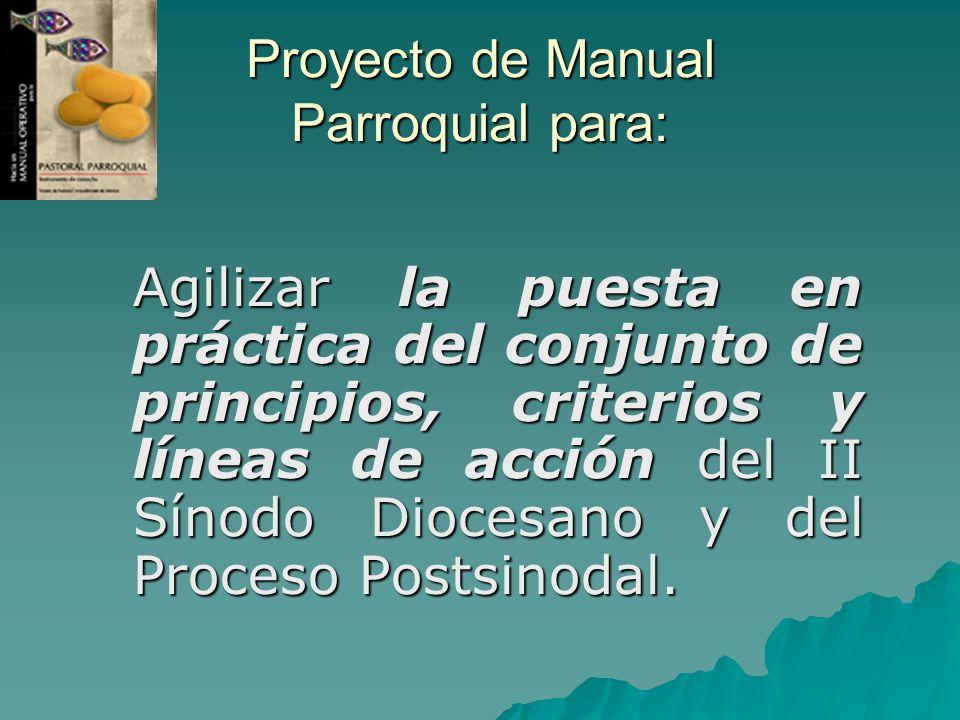 Proyecto de Manual Parroquial para: Agilizar la puesta en práctica del conjunto de principios, criterios y líneas de acción del II Sínodo Diocesano y