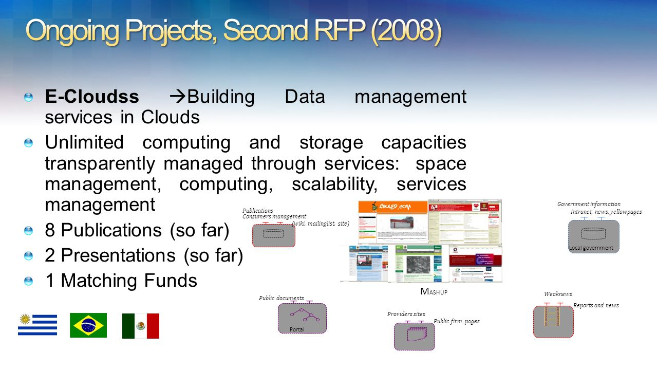 E-Cloudss Building Data management services in Clouds Unlimited computing and storage capacities transparently managed through services: space management, computing, scalability, services management 8 Publications (so far) 2 Presentations (so far) 1 Matching Funds Weaknews Reports and news Local government Government information Intranet, news, yellowpages Providers sites Public firm pages Portal Public documents Consumers management (wiki, mailinglist, site) Publications M ASHUP