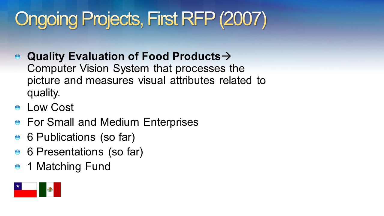 Quality Evaluation of Food Products Computer Vision System that processes the picture and measures visual attributes related to quality.