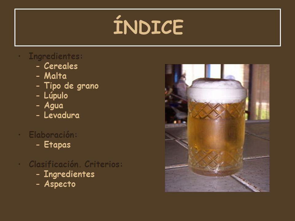 ÍNDICE Ingredientes: - Cereales - Malta - Tipo de grano - Lúpulo - Agua - Levadura Elaboración: - Etapas Clasificación. Criterios: - Ingredientes - As