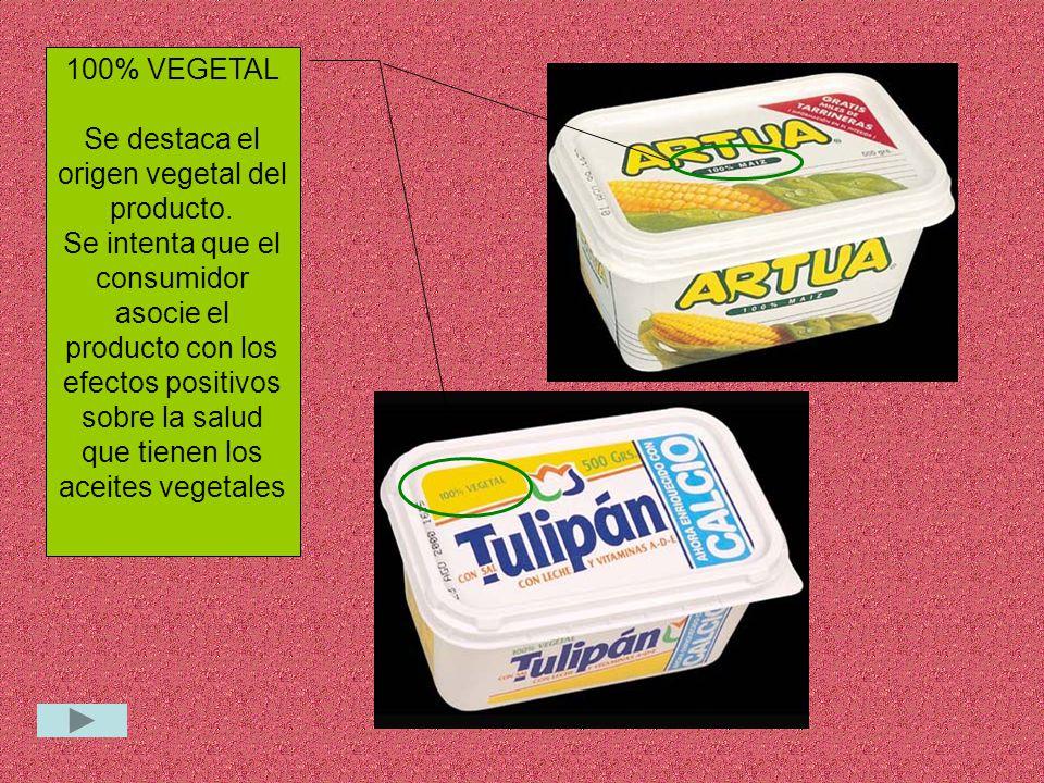 100% VEGETAL Se destaca el origen vegetal del producto.