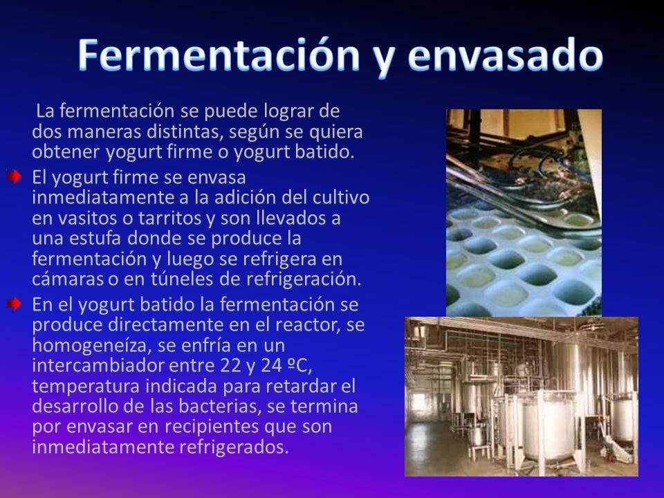 A En los productos lácteos fermentados, la fermentación culmina cuando se alcanza un valor de 4,2 a 4,5 de pH, o cuando se observa un valor de 0,75 a 0,8 de acidez.