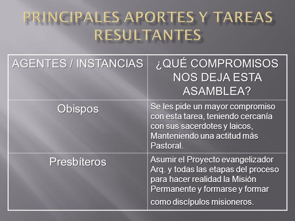 AGENTES / INSTANCIAS ¿QUÉ COMPROMISOS NOS DEJA ESTA ASAMBLEA.