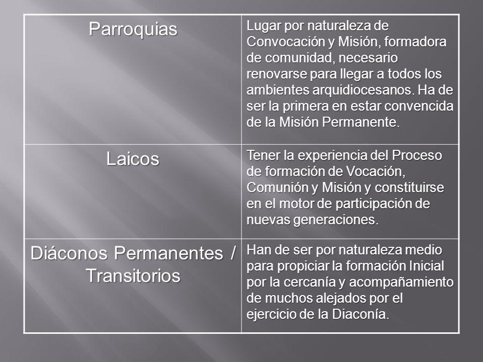 Parroquias Lugar por naturaleza de Convocación y Misión, formadora de comunidad, necesario renovarse para llegar a todos los ambientes arquidiocesanos.