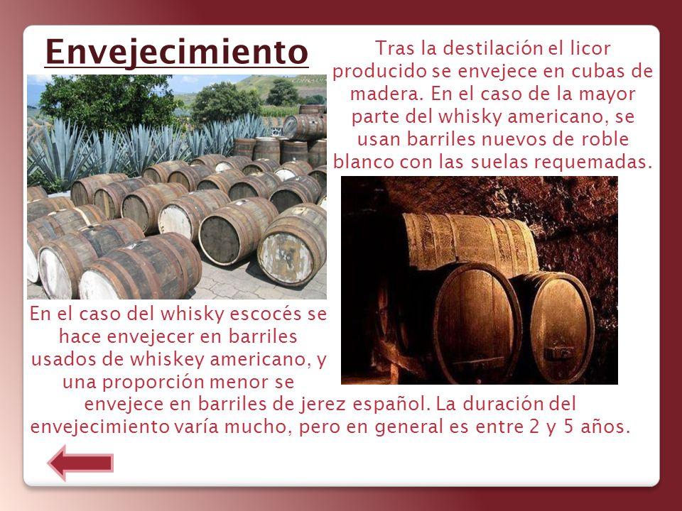 Tras la destilación el licor producido se envejece en cubas de madera. En el caso de la mayor parte del whisky americano, se usan barriles nuevos de r
