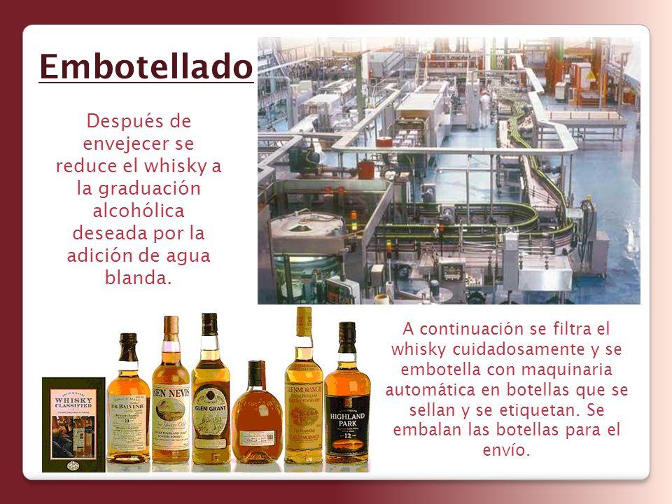 Después de envejecer se reduce el whisky a la graduación alcohólica deseada por la adición de agua blanda. Embotellado A continuación se filtra el whi