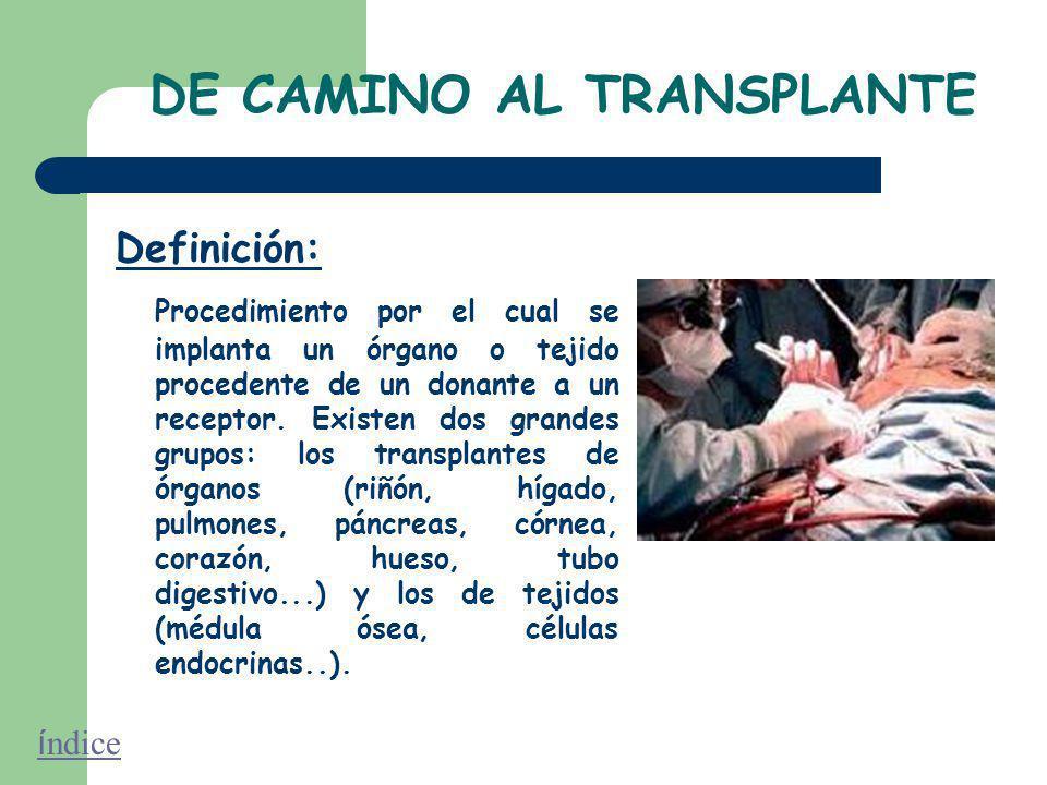 DE CAMINO AL TRANSPLANTE Definición: Procedimiento por el cual se implanta un órgano o tejido procedente de un donante a un receptor.