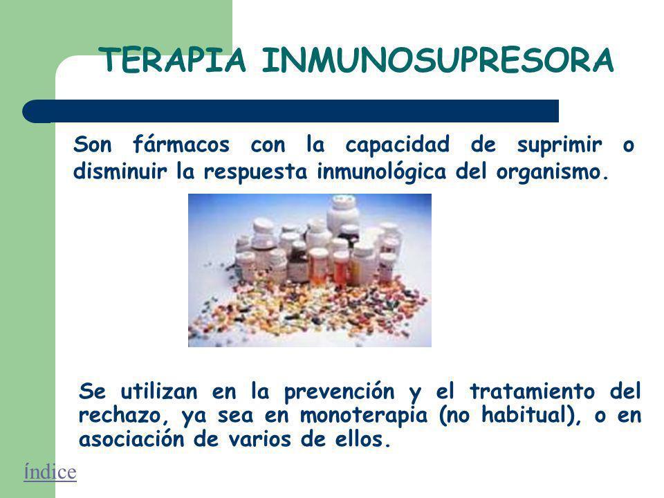 TERAPIA INMUNOSUPRESORA Son fármacos con la capacidad de suprimir o disminuir la respuesta inmunológica del organismo.