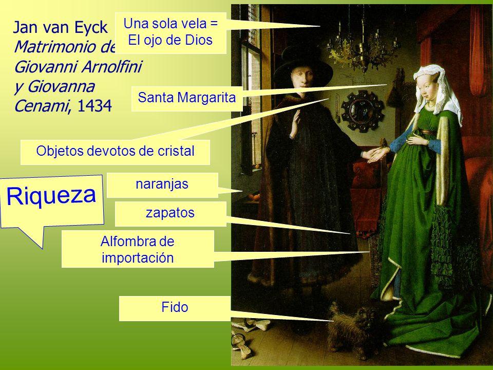Jan van Eyck Matrimonio de Giovanni Arnolfini y Giovanna Cenami, 1434 Una sola vela = El ojo de Dios Santa Margarita Objetos devotos de cristal naranj
