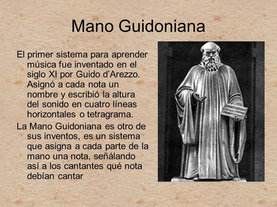 Mano Guidoniana El primer sistema para aprender música fue inventado en el siglo XI por Guido dArezzo. Asignó a cada nota un nombre y escribió la altu
