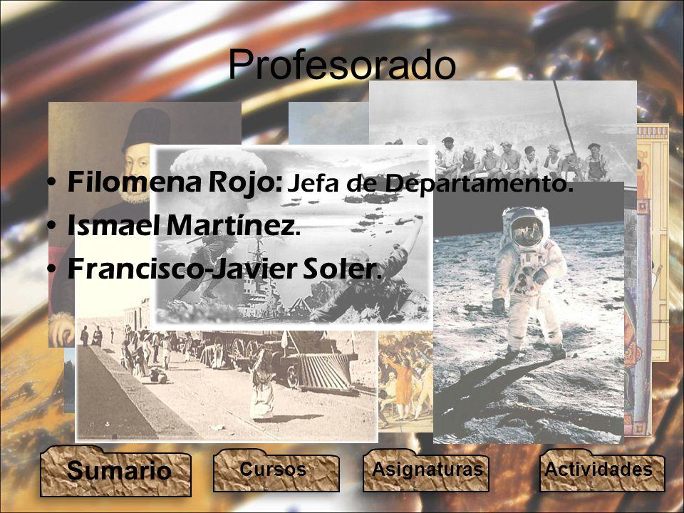Profesorado Filomena Rojo: Jefa de Departamento. Ismael Martínez.