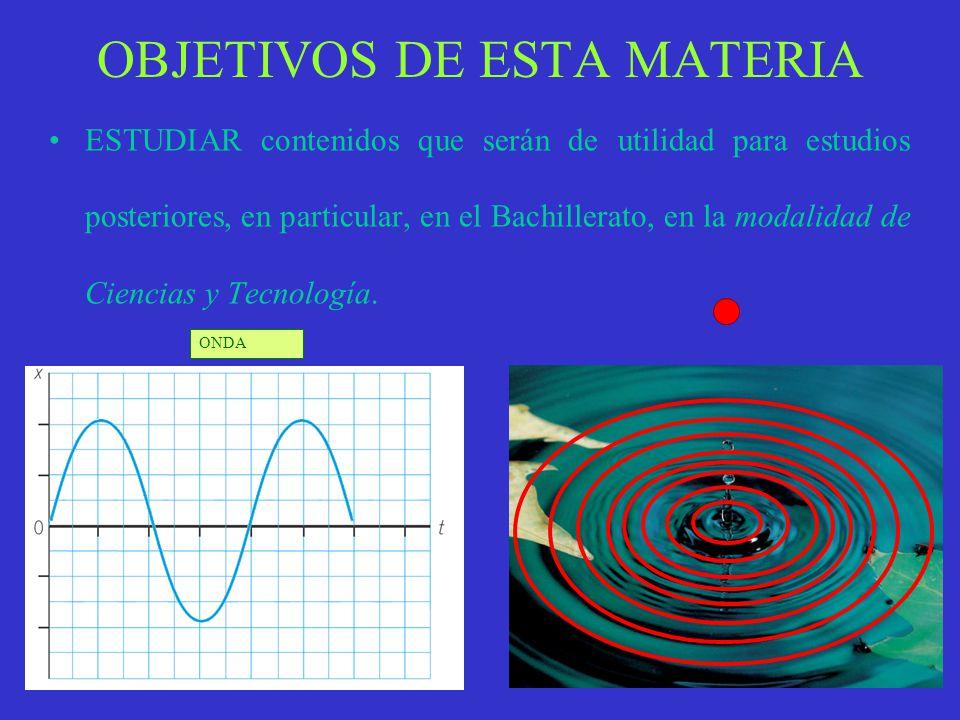 OBJETIVOS DE ESTA MATERIA ESTUDIAR contenidos que serán de utilidad para estudios posteriores, en particular, en el Bachillerato, en la modalidad de Ciencias y Tecnología.