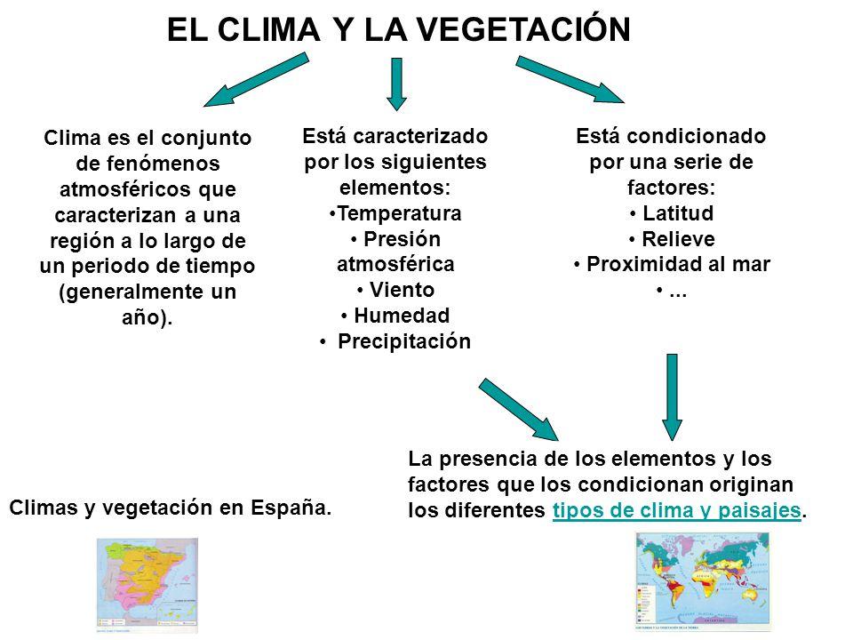 EL CLIMA Y LA VEGETACIÓN Climas y vegetación en España. Clima es el conjunto de fenómenos atmosféricos que caracterizan a una región a lo largo de un