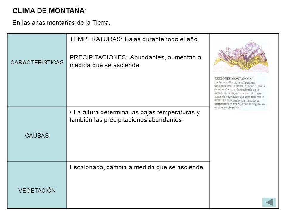 CLIMA DE MONTAÑA: En las altas montañas de la Tierra. CARACTERÍSTICAS TEMPERATURAS: Bajas durante todo el año. PRECIPITACIONES: Abundantes, aumentan a