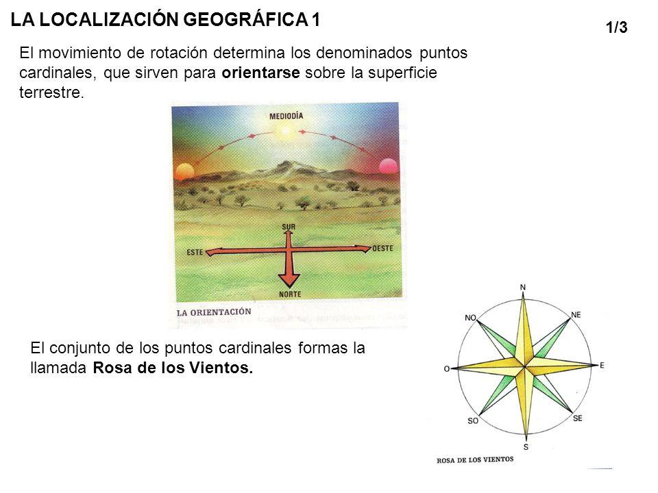 LA LOCALIZACIÓN GEOGRÁFICA 1 El movimiento de rotación determina los denominados puntos cardinales, que sirven para orientarse sobre la superficie ter