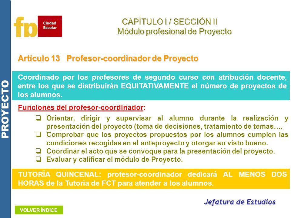 Artículo 13Profesor-coordinador de Proyecto Funciones del profesor-coordinador: Orientar, dirigir y supervisar al alumno durante la realización y pres