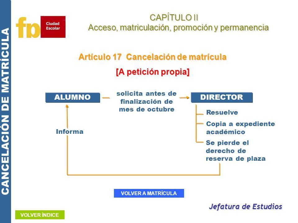 CAPÍTULO II Acceso, matriculación, promoción y permanencia Acceso, matriculación, promoción y permanencia Artículo 17 Cancelación de matrícula [A peti