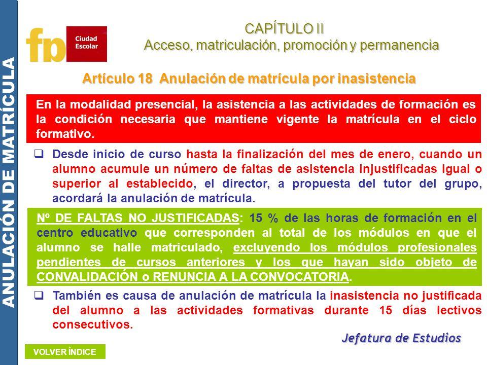 CAPÍTULO II Acceso, matriculación, promoción y permanencia Acceso, matriculación, promoción y permanencia ANULACIÓN DE MATRÍCULA Artículo 18 Anulación