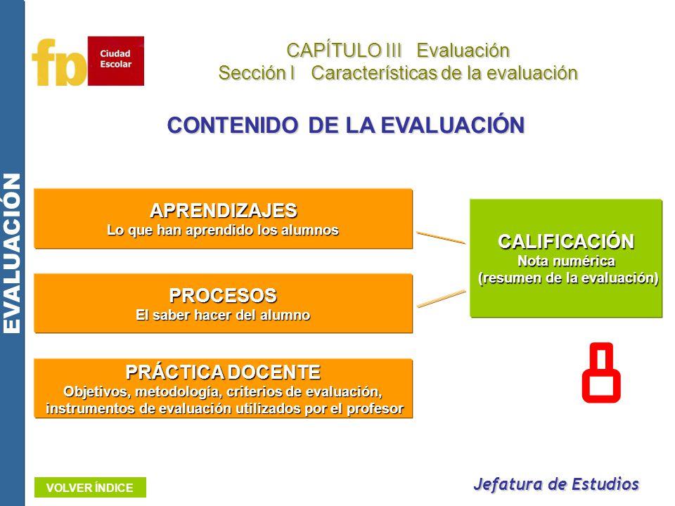 Jefatura de Estudios CAPÍTULO III Evaluación Sección I Características de la evaluación EVALUACIÓN VOLVER ÍNDICE CONTENIDO DE LA EVALUACIÓN APRENDIZAJ