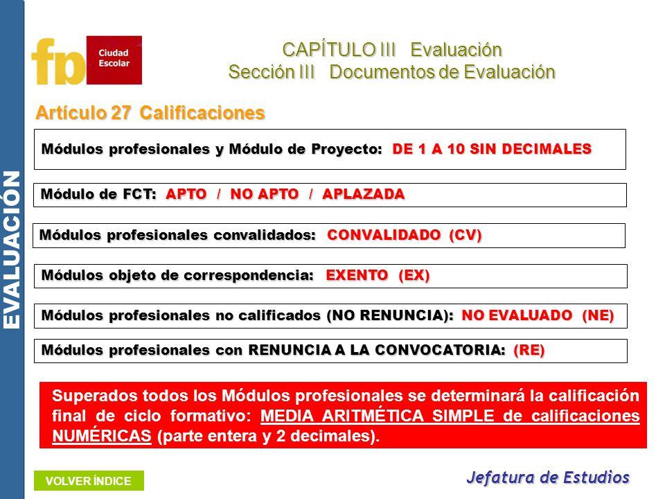 Artículo 27Calificaciones Jefatura de Estudios CAPÍTULO III Evaluación Sección III Documentos de Evaluación EVALUACIÓN VOLVER ÍNDICE Módulo de FCT: AP