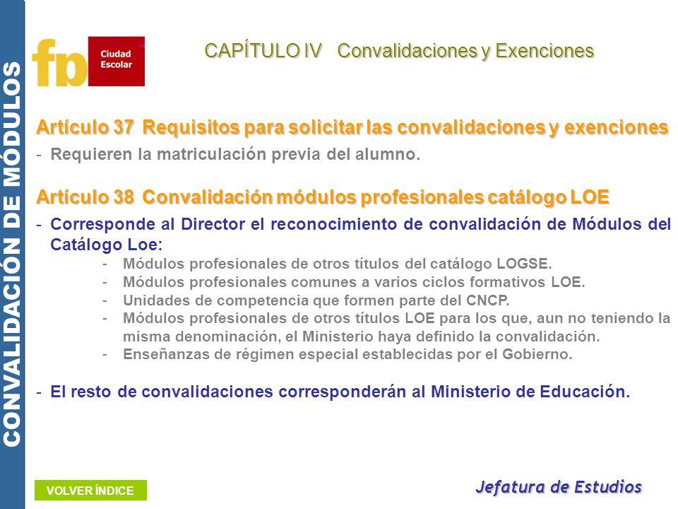 Artículo 37Requisitos para solicitar las convalidaciones y exenciones -Requieren la matriculación previa del alumno. Jefatura de Estudios CAPÍTULO IV