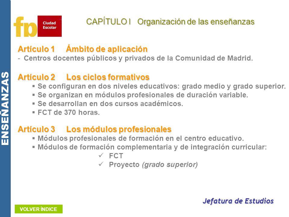 Artículo 1Ámbito de aplicación -Centros docentes públicos y privados de la Comunidad de Madrid. Jefatura de Estudios Artículo 2Los ciclos formativos S