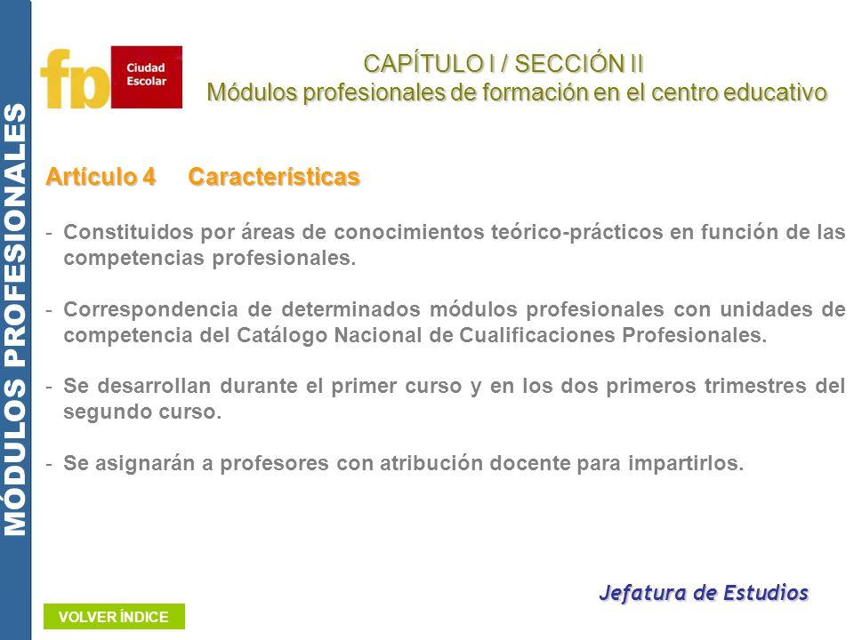 Artículo 4Características -Constituidos por áreas de conocimientos teórico-prácticos en función de las competencias profesionales. -Correspondencia de